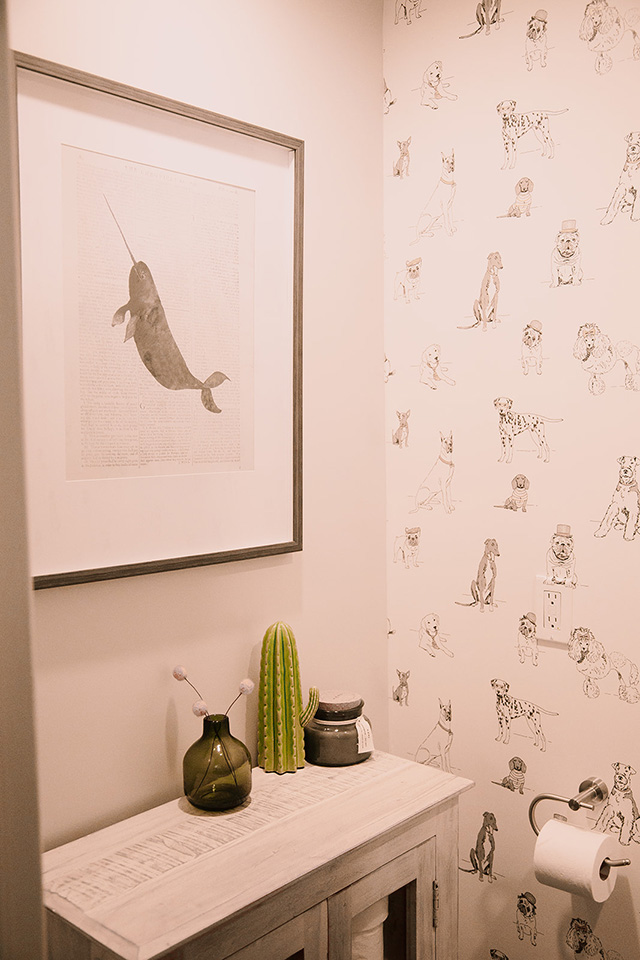 The Bam House Becca Mendez Los angeles based interior designer powder room dog wallpaper